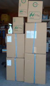 スーパー次亜水の箱類と、スーパー次亜水ラインナップの紹介
